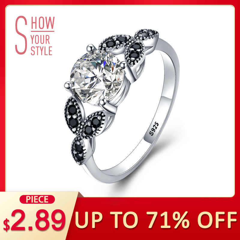 [BLACK AWN] 925 Sterling Silver Ring Fine smykker Trendy Engagement Bague Wedding Rings for Women Størrelse 6 7 8 9 10 C035