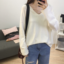 2019 Spring Solid Sweaters Women V Neck Pink Khaki Purple Knitted Sweater Loose Batwing Sleeve Drop Shoulder Pullover Sweater