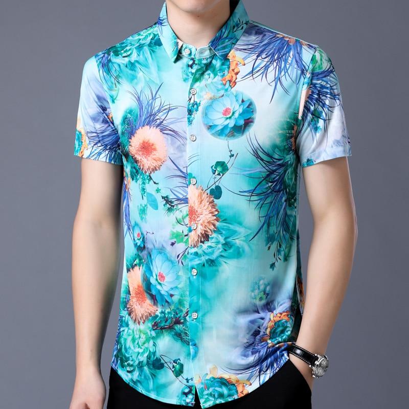 2018 short sleeve social men flower hawaii shirt dress casual slim fit summer male shirts mens fashions streetwear clothing 1810