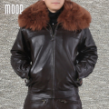 Black genuine leather jacket wool fur collar decor cowskin motorcycle jackets coat chaqueta cuero hombre cappotto LT1063