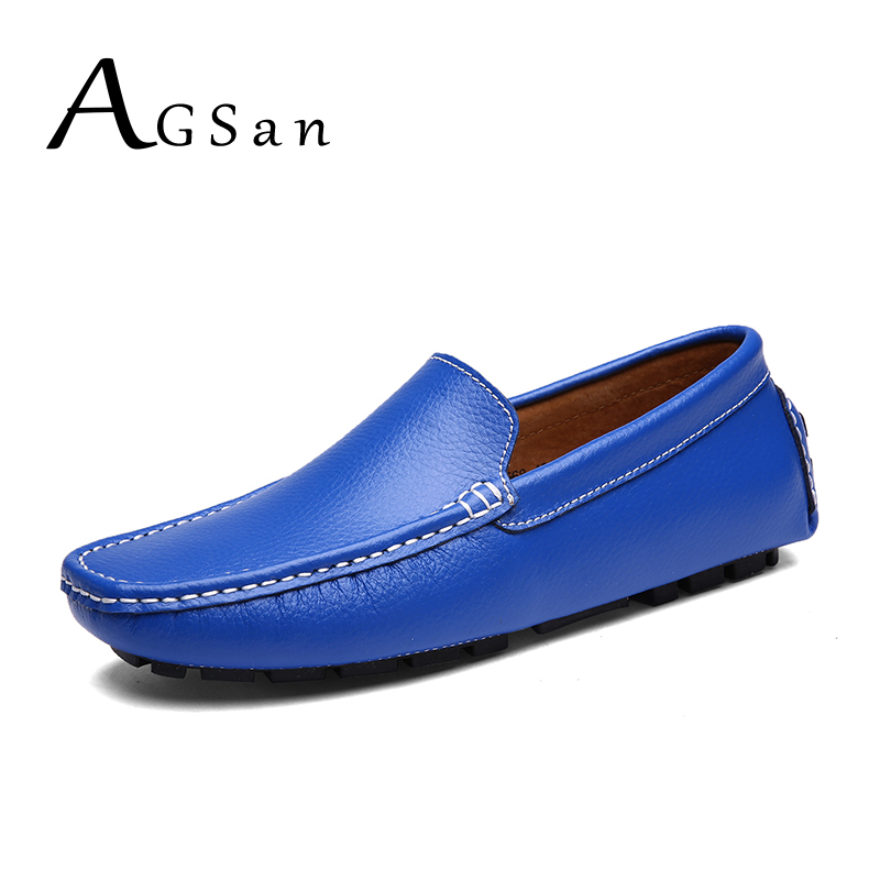 AGSan Genuine Leather Men loafers Moccasins Blue Mens Driving Shoes Big Size 38-47 Italian Loafers Shoes Handmade Casual Shoes summer breathable moccasins mens driving shoes italian luxury brand men loafers 2017 genuine leather casual shoes big size to 46