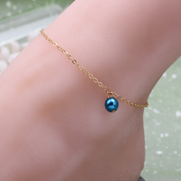 Fashion woman plating gold silver chain bracelet Anklets crystal ball imitation pearls summer beach Anklets jewelry gift