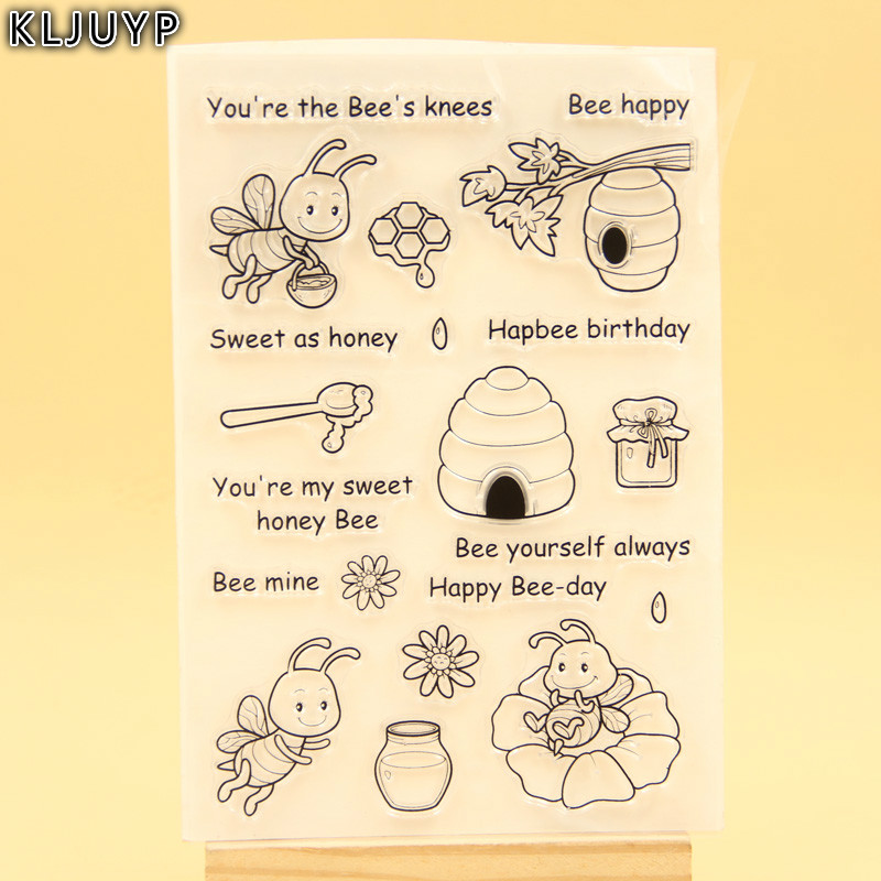 KLJUYP Happy Bee Day Transparent Clear Silicone Stamp/Seal for DIY scrapbooking/photo album Decorative clear stamp sheets new arrival shiny r 542d t24 24 hour date time adjustable seal 41mm year month day seal stamp printer 48