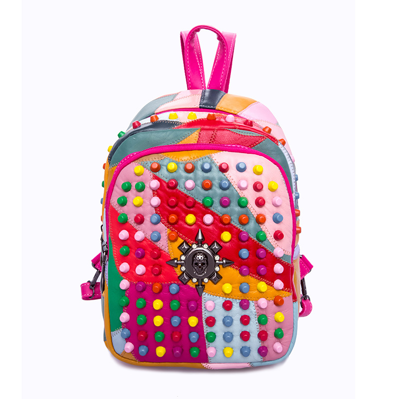 European fashion Punk backpack for college student women bag pack rivet genuine leather colorful bagsEuropean fashion Punk backpack for college student women bag pack rivet genuine leather colorful bags