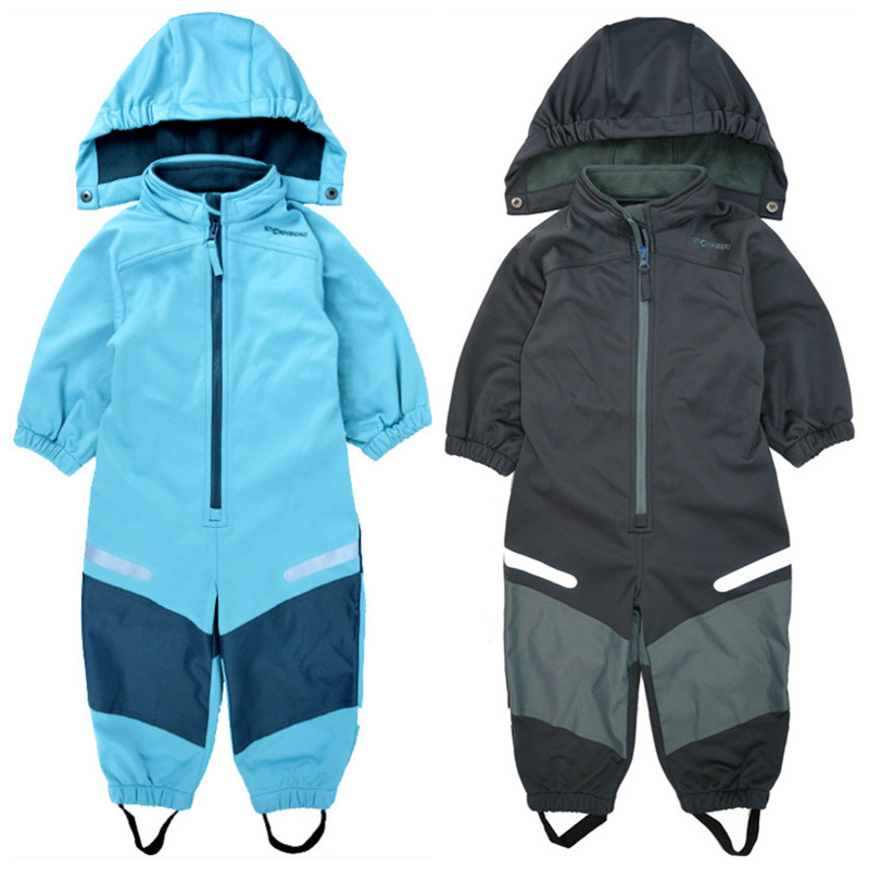 Children's soft shell jumpsuit boys and girls jumpsuit warm thin section composite warm waterproof windproof