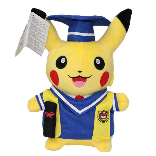 Kawaii Graduation Pikachu Cos Pokeball Cloth Plush Toys Soft Stuffed Animal Dolls for Children's Gift 13inch 32cm 2 Styles