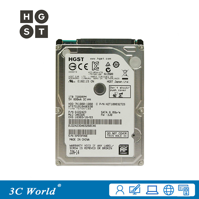 Original HGST Laptop Hard Drive 1TB 2.5 inches 7200rpm 32MB Cache