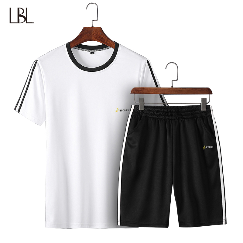 Summer Set Men Striped Tracksuit Male Streetwear Mens Tshirt + Shorts Sets Mans Soprting Sweat Suits Tee Trousers Two Piece 4XL