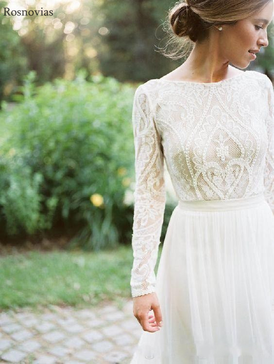 Country Long Sleeves Wedding Dresses 2020 Scoop Sweep Train Lace Appliques Modest Garden A Line Bridal Gowns Vestido De Novia