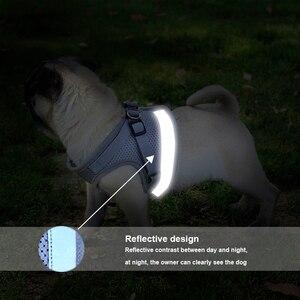 Image 4 - Köpek koşum tasma yaz Pet ayarlanabilir yansıtıcı yelek yürüyüş kurşun köpek Polyester örgü koşum küçük orta köpek için