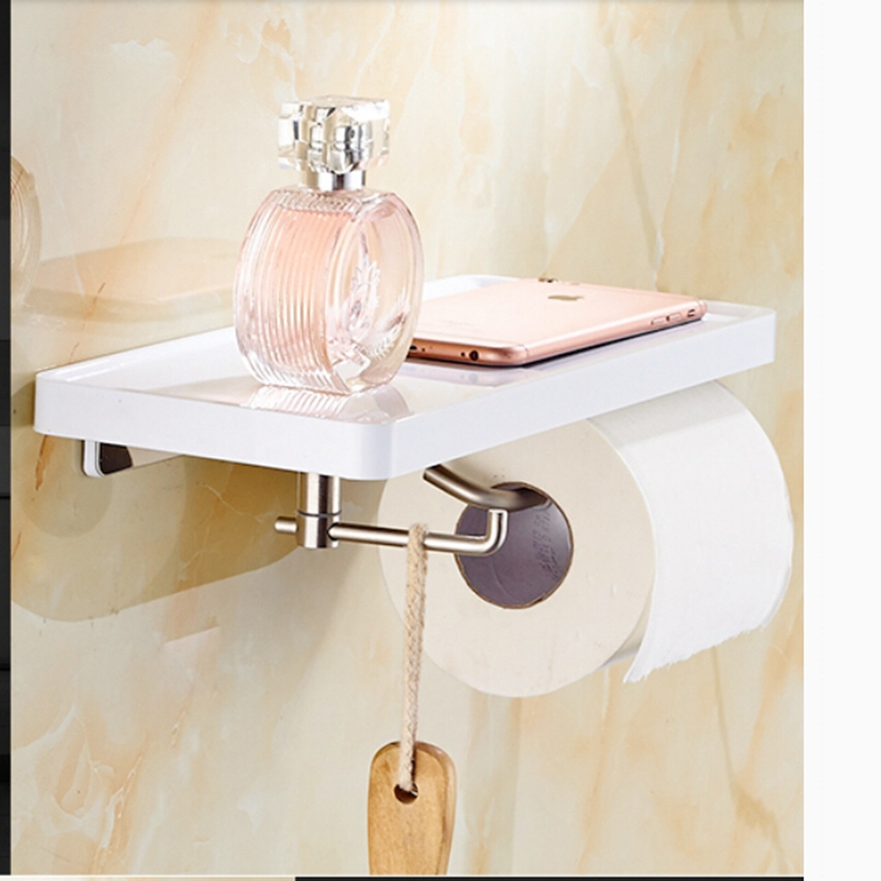 White Painting Wall Mount Brass Bathroom Toilet Paper Holder Hook Hanger Shelf free shipping ba9105 bathroom accessories brass black bronze toilet paper holder