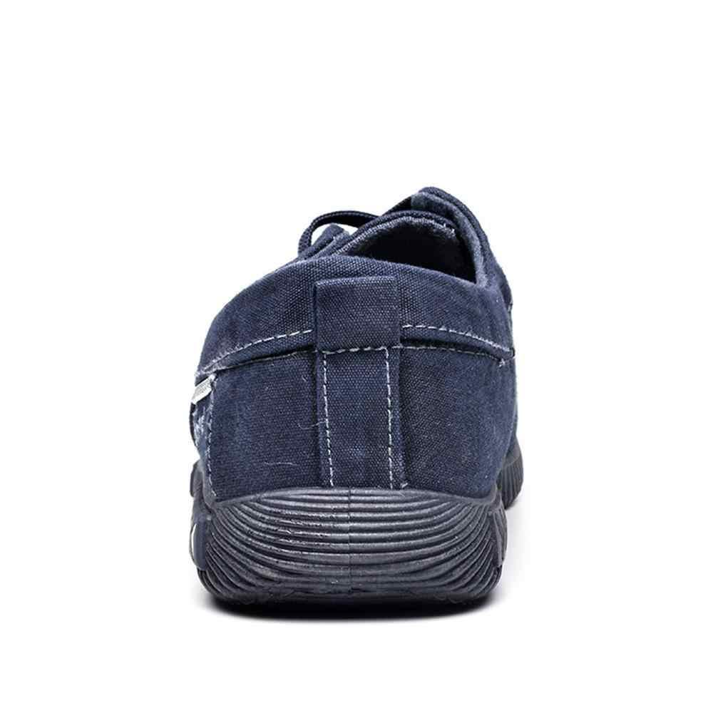 LAISUMK 2019 nowe płótno męskie buty Denim sznurowane mężczyźni buty w stylu casual obuwie oddychające męskie obuwie wiosna jesień
