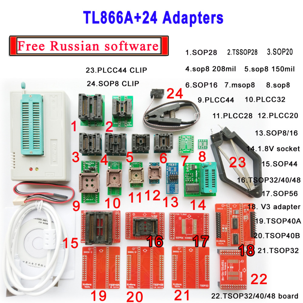 Free Russian software Original Minipro TL866A programmer 24 adapter socket V6 6 Bios Flash EPROM EEPROM