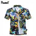 Новый 2016 мужская одежда лето с коротким рукавом мужчины гавайская рубашка свободного покроя цветочные camisas masculina, Большой размер 4XL