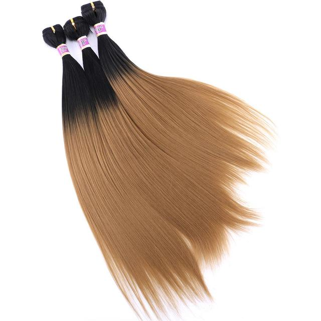 Angie Ombre Straight Hair Bundles Synthetic Hair Weave 16 18 20