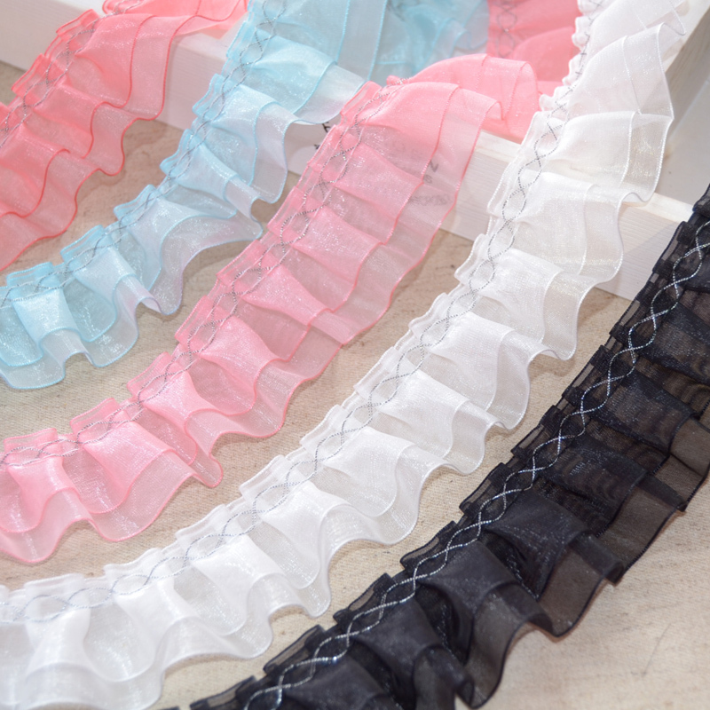 MIPPER 21 Yards Pleated Chiffon Lace Ribbon Glass Yarn Lace Trim DIY Handwork Doll Skirt Material Decoration Accessory Yellow
