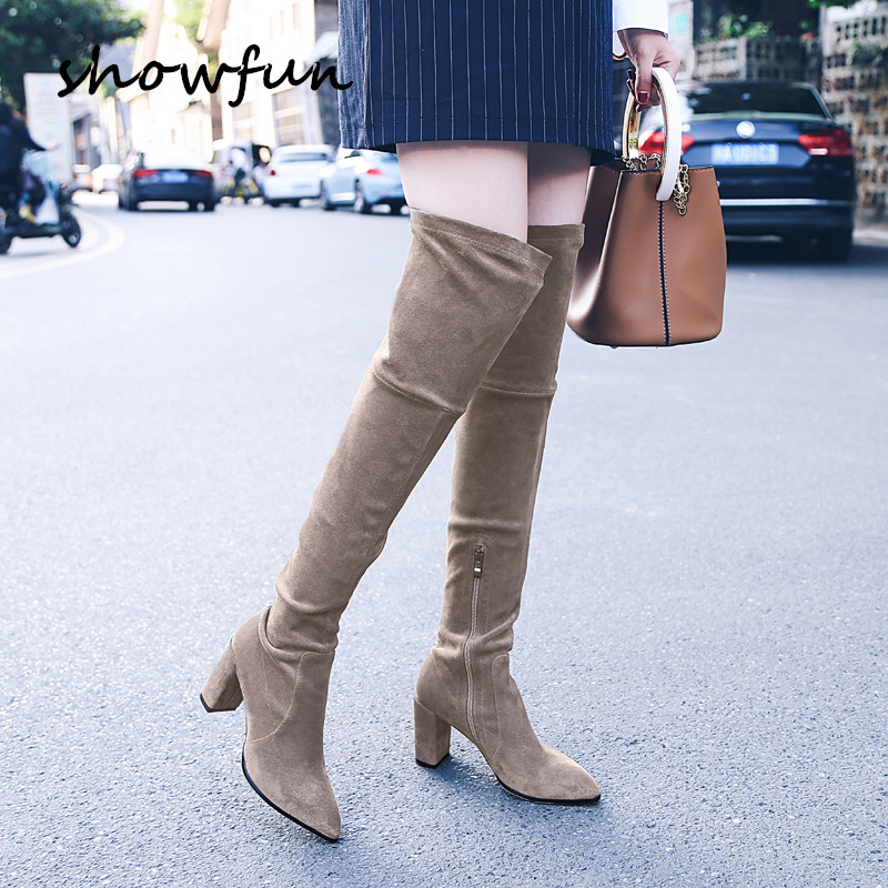 Womens genuine suede leather flock gray black slim over the knee boots brand designer high heel ladies winter long boots shoes