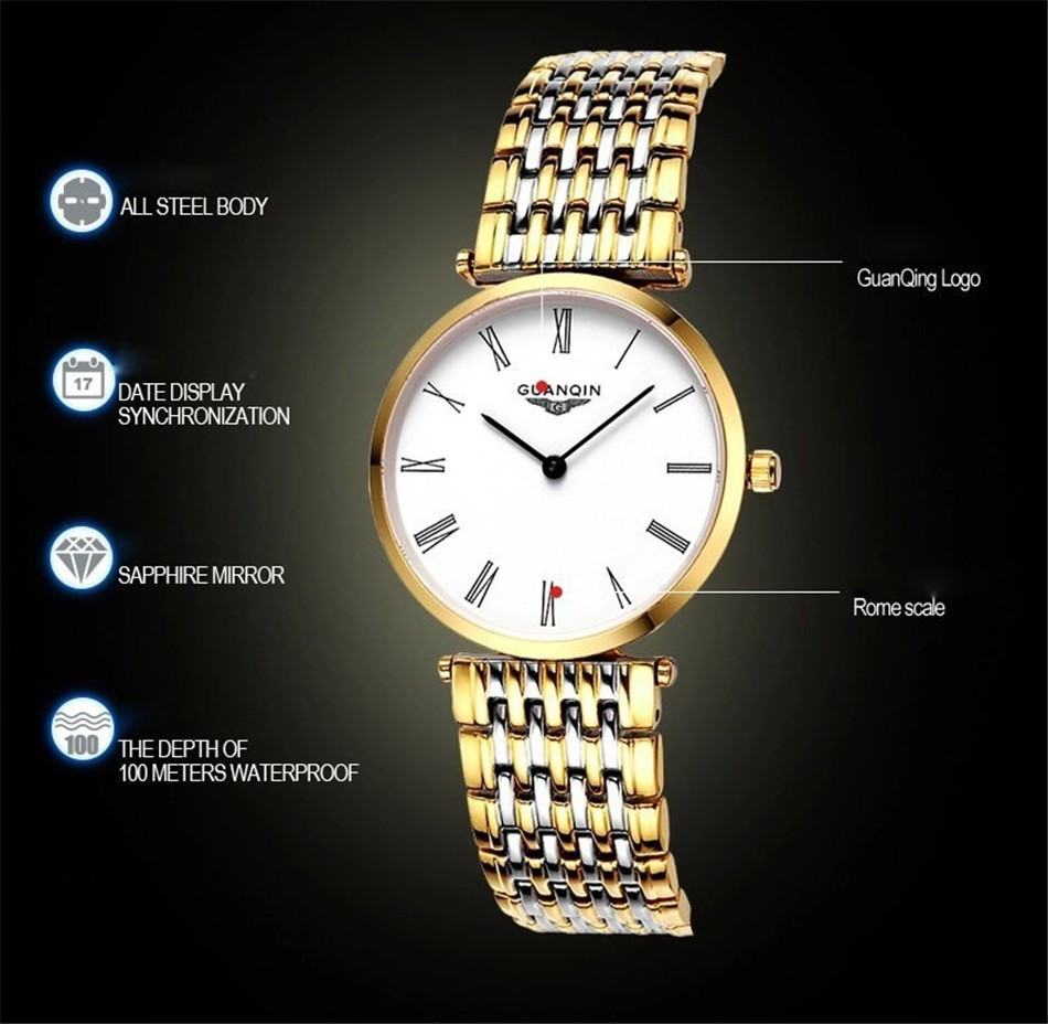 GUANQIN Women Watches 2017 Luxury Top Brand Watch Women Casual Fashion Gold Silver Steel Quartz Girl Watches relogio feminino (8)
