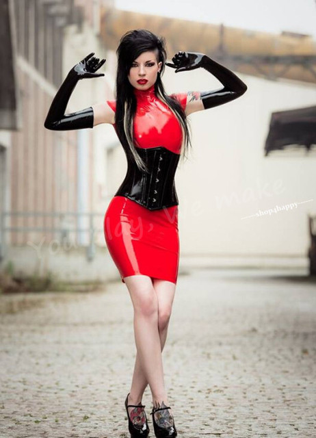 shop4happy latex dress skintight without the corset red rubber sheet ...