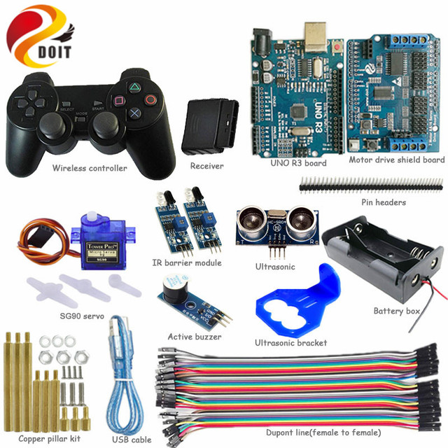 DOIT 1 set Wireless Control Kit IR Ultrasonic Obstacle Avoidance with SG90 Servo Controller kit for Arduino Tank Car Chassis