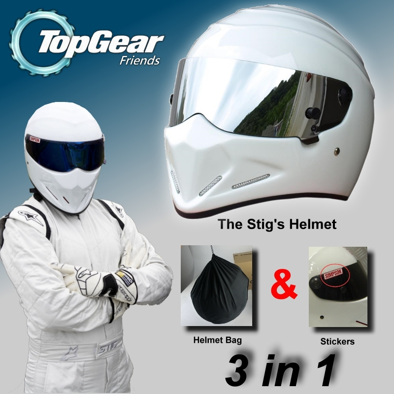 For TopGear The STIG White Helmet Capacete Casco + Bag + SIMPSON Sticker 3in1 / White Helmet with Silver Visor / Racing Style лонгслив stig лонгслив