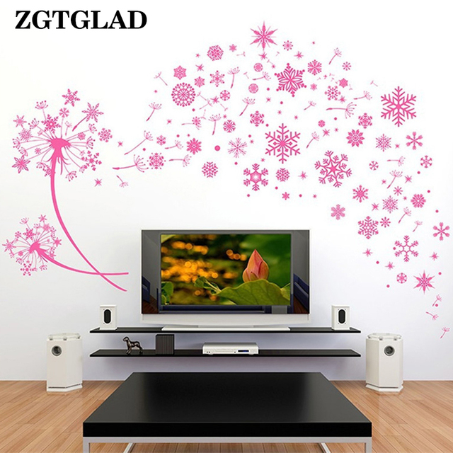 ZGTGLAD 1 Pcs Pink Dandelion Snowflake Wall Stickers Happy New Year Wall  Decals Living Room Bedroom