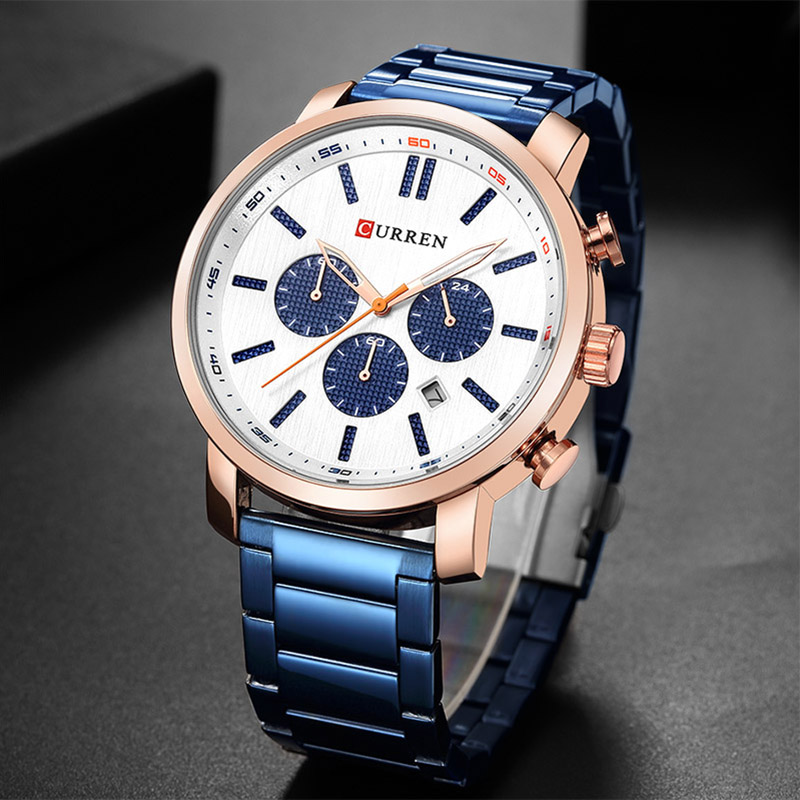 2680fbdbd2fe Curren Watch Fashion Mens Watches Blue Gold Military Army Stainless Steel  Quartz Mens Watches Top Brand Luxury Men Watch Luxury -in Quartz Watches  from ...