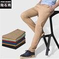 2017 Calças Retas Magros dos homens Casuais Moda Estilo Longo Multicolor Bolso Calças Plus Size Frete Grátis
