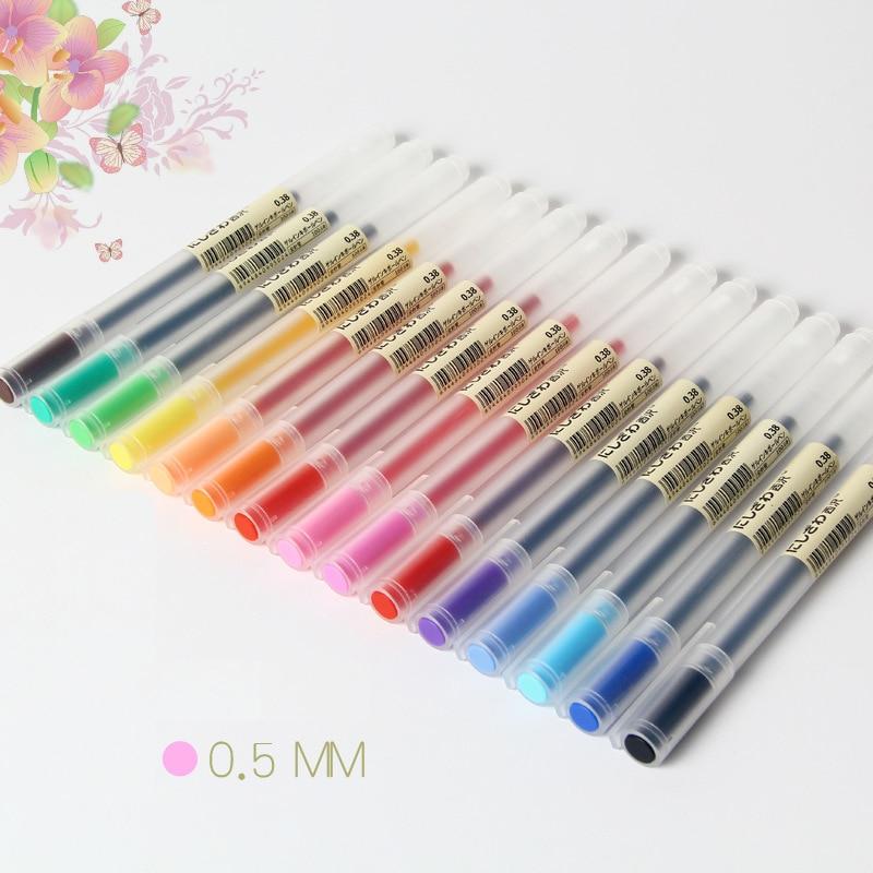 12 Pcs/lot Gel Pen 0.5mm Colour Ink Pen Maker Pen School Office Supply Muji Style 12 Colours