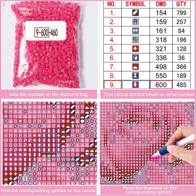 Huacan 5D Diamond Embroidery Painting Cross Stitch Animal Panda Full Square Picture Rhinestone Diamond Mosaic Home