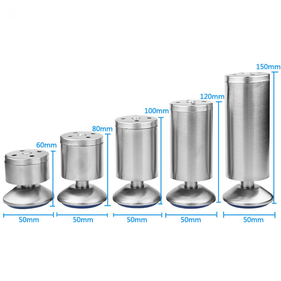 Stainless Steel 50*60/50*80/50*100/50*120/50*150mm Height Sofa Leg Furniture Parts Bed/tv Cabinet Feet Set Of 4
