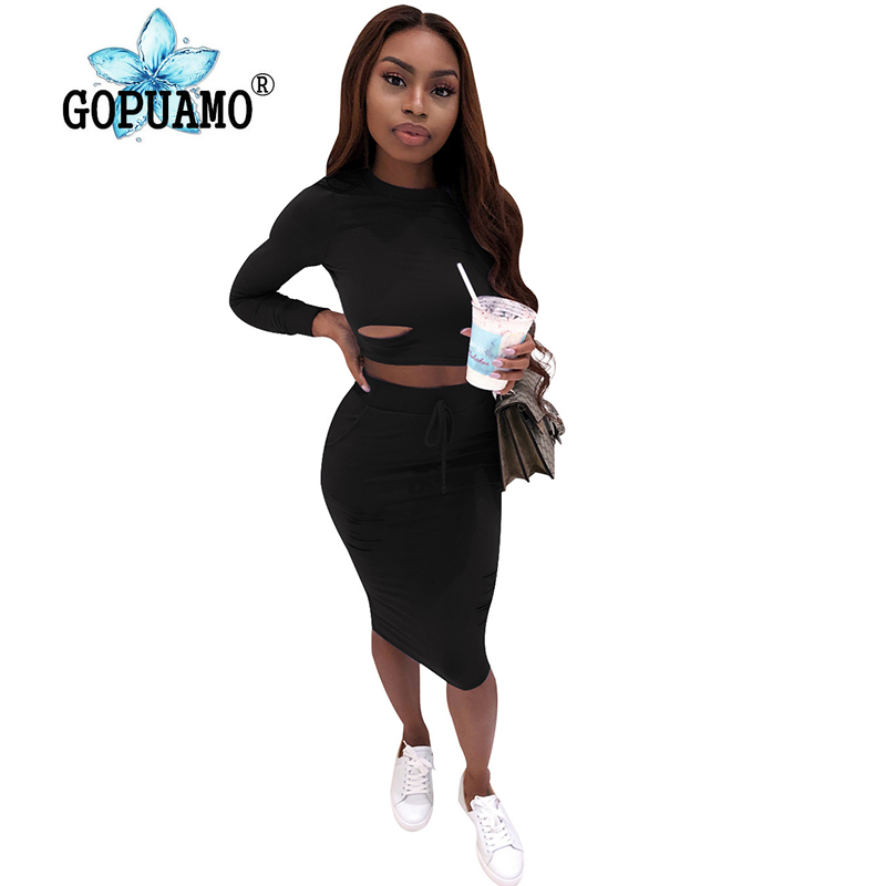 Hole Hollow Out Sexy 2 Piece Matching Set Women O Neck Long Sleeve Crop Top Bandage Mini Skirts Suits Casual Two Piece 20190529 in Women 39 s Sets from Women 39 s Clothing