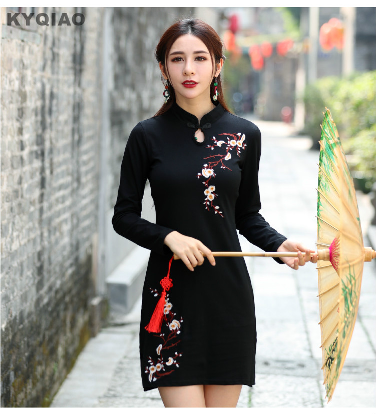 2d9cc107ac KYQIAO Traditional Chinese clothing 2019 vintage dress women autumn spring  elegant long sleeve black red embroidery