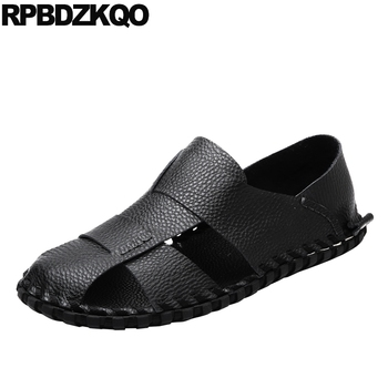 casual flat soft black beach closed toe waterproof famous brand designer white men sandals leather summer brown outdoor shoes