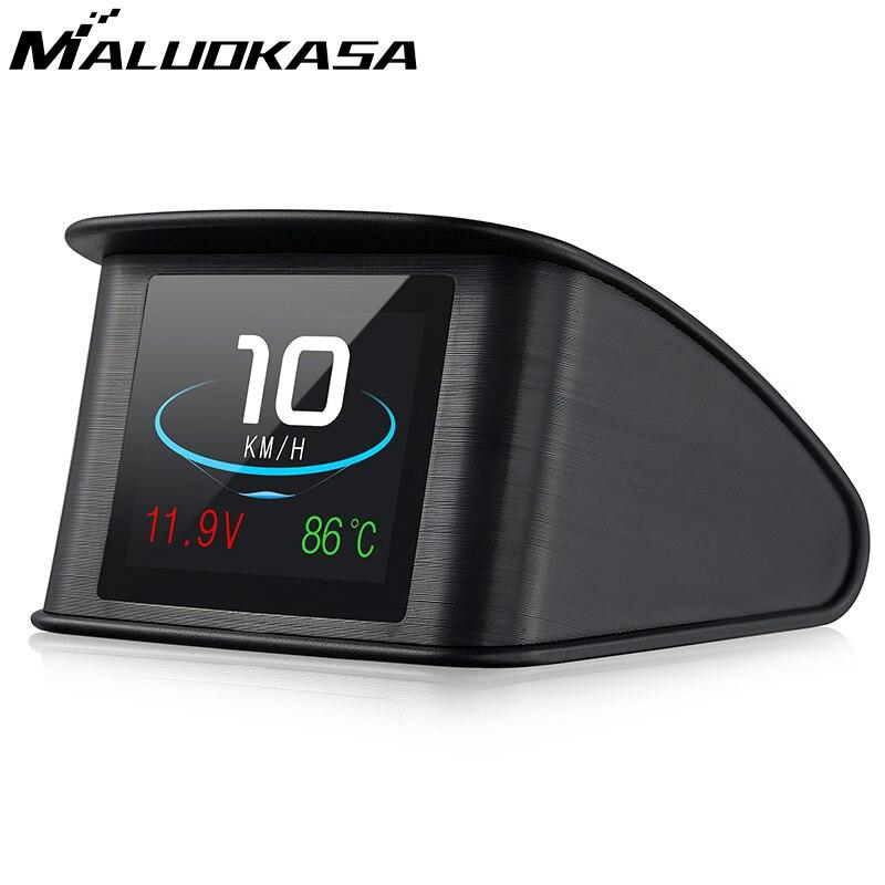 Cabeza velocímetro pantalla Hud GPS OBD computadora de velocidad del coche pantalla Digital, el consumo de combustible medidor de temperatura de la herramienta de diagnóstico