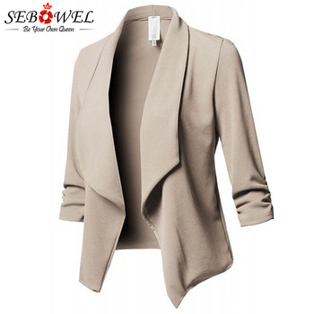 SEBOWEL Womens Blazers Long Sleeve Plus Size 2018 Autumn Spring Ladies Ruched Solid Blazer Jacket for Office 5XL 6XL Large Coat