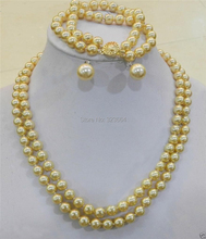 2 Rows 8mm Sea Gold Shell Pearl Necklace Bracelet, 12MM Earring Set