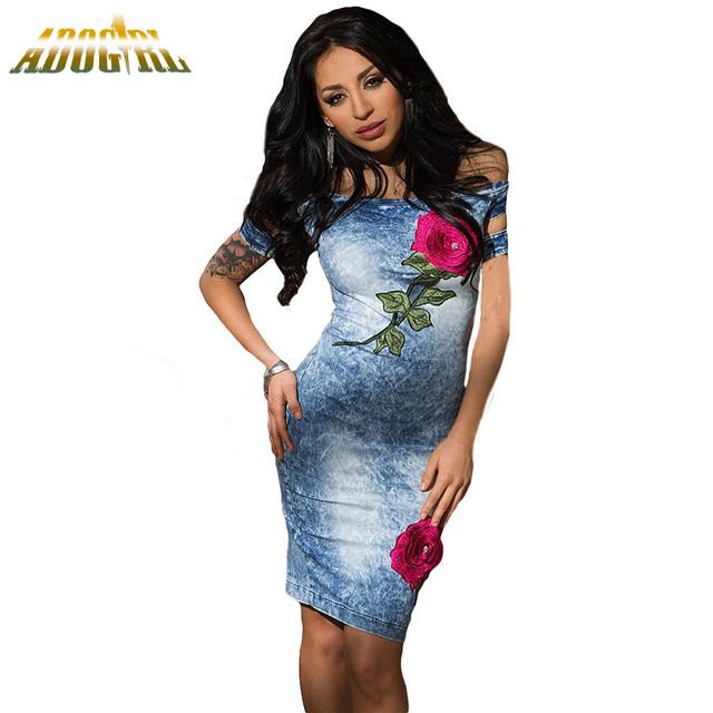 2016 Verano de Las Mujeres Jeans Denim Dress Fashion Rose Bordado Denim Vestido de Las Señoras Del Hombro Midi Bodycon Vestido Festa Feminino