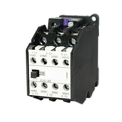 CJX1-22 AC Contactor 24V 50Hz Coil 22A 3-Phase 3-Pole 2NO + 2NC sayoon dc 12v contactor czwt150a contactor with switching phase small volume large load capacity long service life