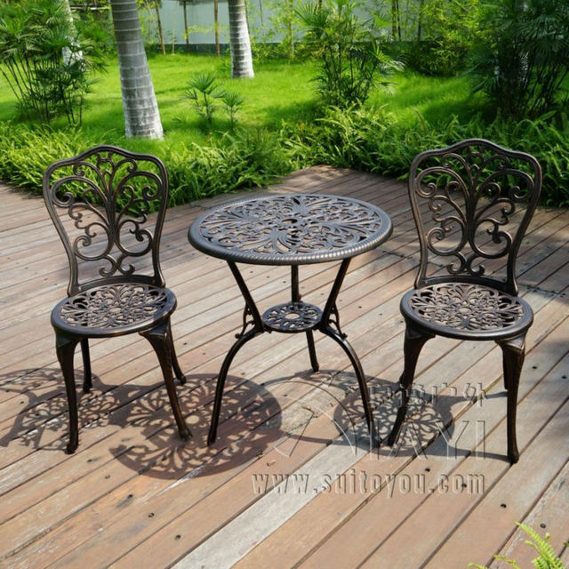 New patio furniture modern design cast aluminum bistro set for Deck table and chair sets