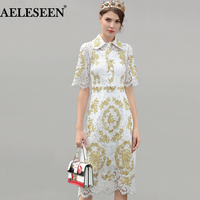 Luxury Vintage White Lace Dresses 2018 Spring Fashion Short Peter Pan collar Hollow Gold Line Embroidery Runway Designer Dress