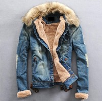 Free Shipping 2013 New Winter Fur Collar Wool Denim Jacket With Thick Clothes Shirts Size M