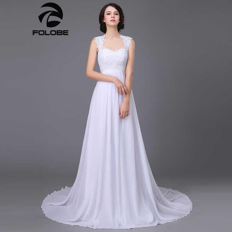 פשוט שיפון V-צוואר תחרה עד Vestidos דה Noiva קפלים חוף אונליין ארוך חוף חתונת שמלות Robe דה נישואי כלה שמלות