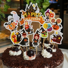 11pcs Happy Halloween Cupcake Topper Set Pumpkin Felt Hat Specter Cartoon Witch Ghost Cake Decoration Party Birthday Supplies