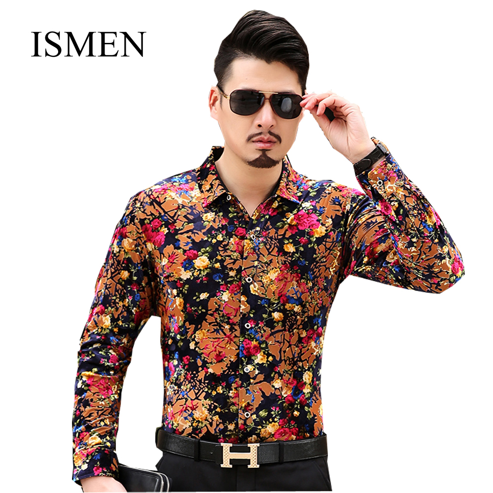 70842b35fe Ismen dos homens de manga longa masculino moda Casual Formal Slim Chemise  Homme Camisa Masculina em Camisas casuais de Dos homens de Roupas &  Acessórios