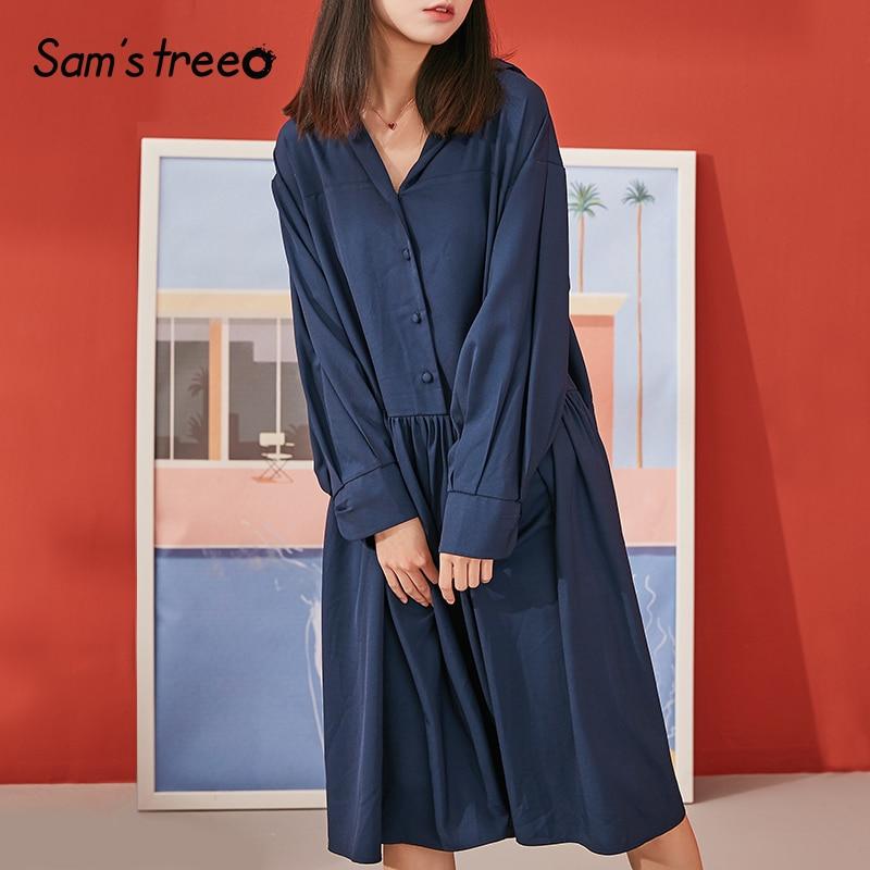 Samstree Vintage Spring Summer Loose Dresses Women Ruffles Sailor Collar Long Sleeve Knee Length Female Dresses