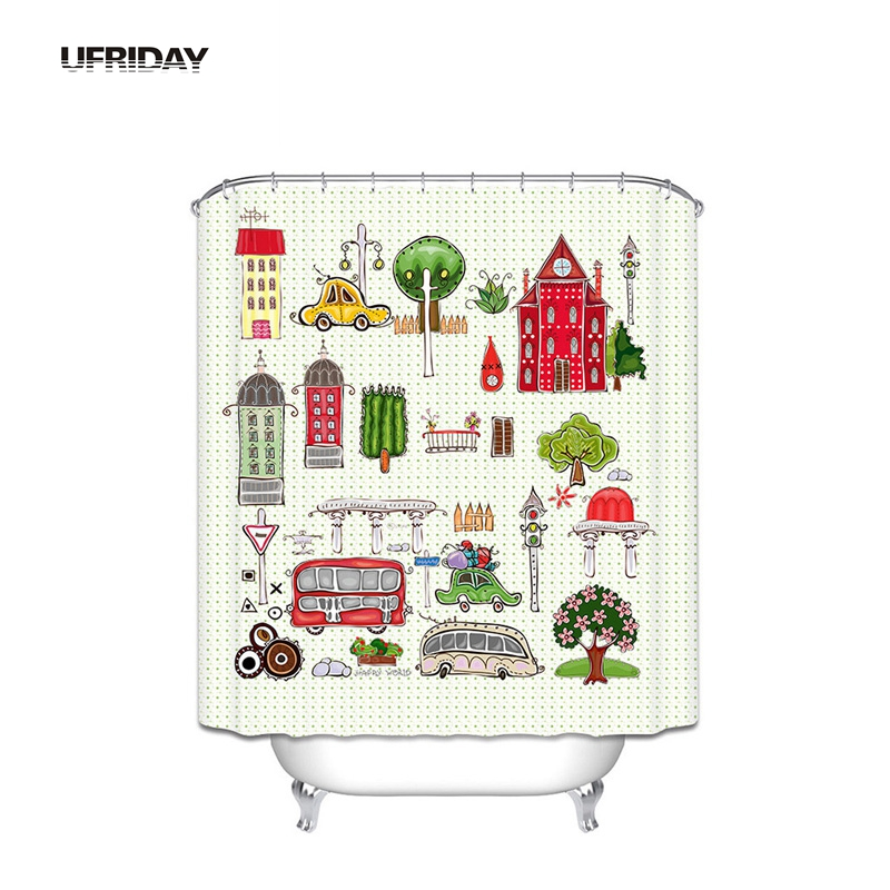 UFRIDAY Children Cartoon Shower Curtain Polyester Cloth