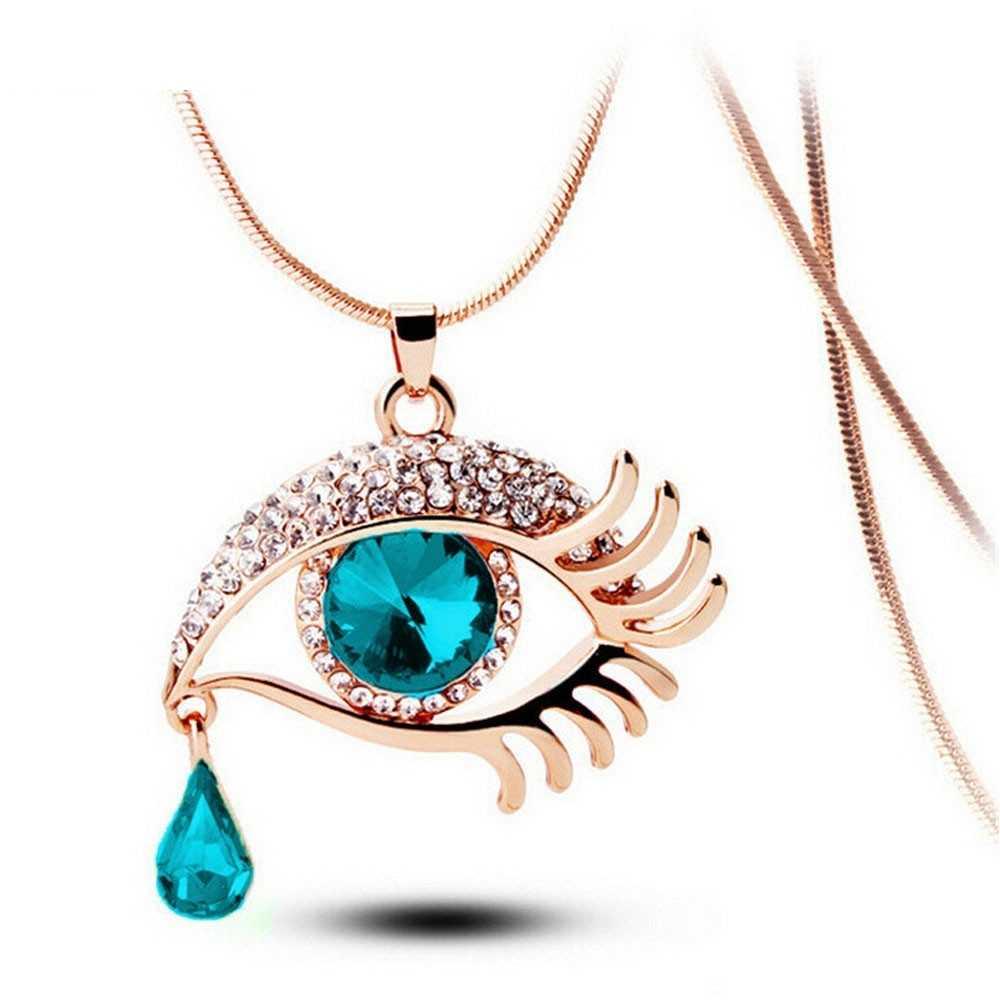 OTOKY 1 шт. Лидер продаж Модный волшебный глаз кристалл слеза падение ресницы ожерелье Длинный свитер цепь Прямая поставка F26