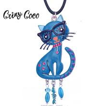 Cring Coco Women's Necklace Vintage Blue Enamel Cat Pendants Long Sweater Chain Statement Necklaces Jewelry for Women Girls Gift vintage cross anchor sweater chain for women