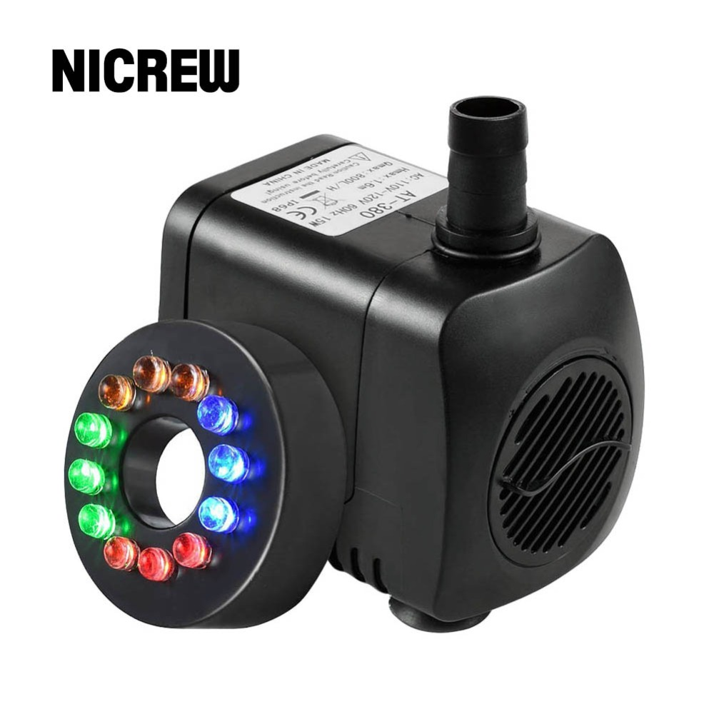 Nicrew 110-220V 15W 800L/H Aquarium Submersible Water Pump with 12 LED Light Fish Tank Aquarium Fountain Pond Pumps Decoration